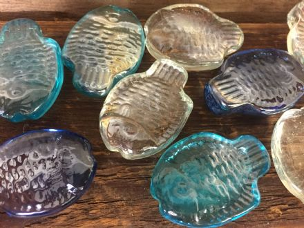 Blues & Clear Glass Decorative FISH Beads